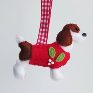 christmas, handmade, decoration, tree, dog,